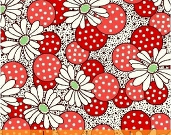 CLEARANCE - Windham Fabrics - Polka Dot Flower in Red - Feedsack Collection by Whistler Studios - 1930's Reproduction Fabric