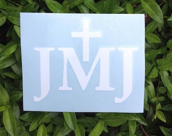 "JMJ Vinyl Decal 3""h x 3.7""w."