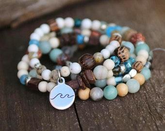 Sea Jewelry by Pink Lemon Design Ocean Jewelry Nautical Bracelet Sand Dollar Jewelry Beach Jewelry Beaded Wrap Bracelet
