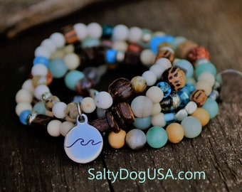 Beach Jewelry Ocean Beaded Bracelet Beachy Boho Stacking Wave Holiday Gift Jewelry for Women Beachy Bracelet Beaded Wave Charm Bracelet