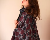60s look wool floral winter brocade swing cape poncho coat