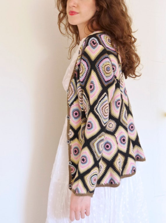Vtg 90s does 70s granny square patchwork knitted m