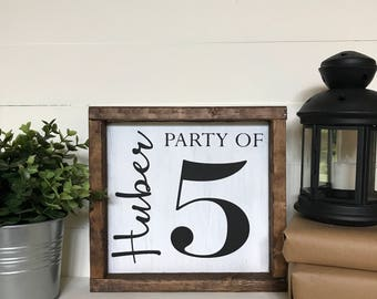Party of 5 Monogram Family Sign
