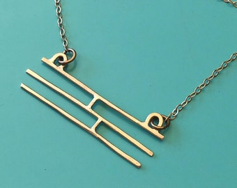 Brushed Brass Geometric Linear Bar Necklace