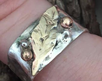 Sterling and Brass Rustic Wide Band Feather Ring