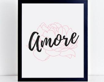 Amore Valentines Printable art, digital download, peony print, floral art, printable valentines day, love printable, nursery print, love art