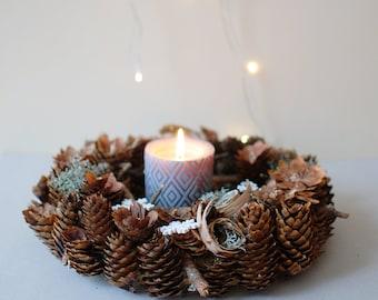 Holiday wreath - Natural Christmas wreath -  Table centerpiece -Natural Christmas decorations - natural door wreath - Christmas centerpiece