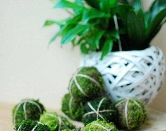 Farmhouse decor, Natural moss ball set of 9, Moss decors, Table decor, Green wedding decor, Greenery balls, Mantel decor, spheres,