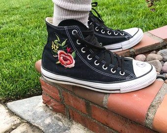 db0b0019fc61 High Top Rose Converse Floral Converse Rose Shoes Sewed in