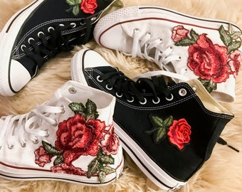 bb1adb80af7a Rose Embroidered High Top Converse All-stars Floral Shoes -- SALE Coupon  Code Inside