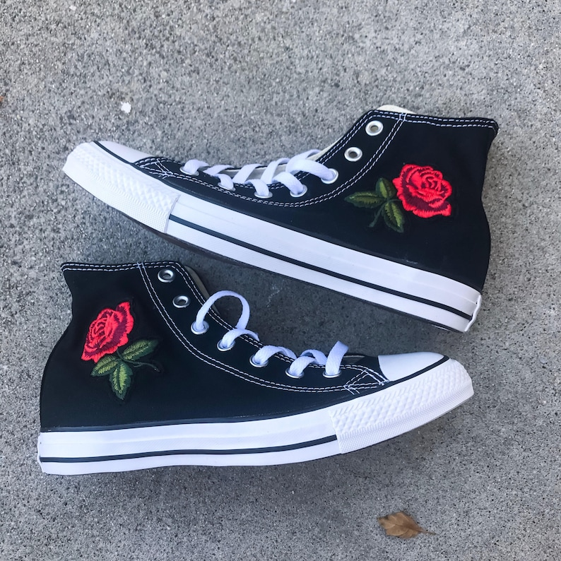 10b6081d49a High Top Rose Converse Floral Converse Rose Shoes Sewed in
