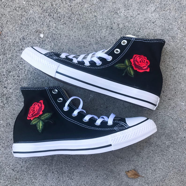 High Top Rose Converse Floral Converse Rose Shoes Sewed in  9241e4db7