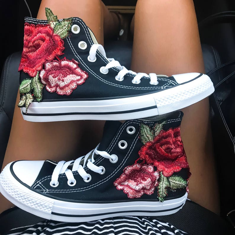 63f4d810a33 Rose Embroidered High Top Converse All-stars Floral Shoes