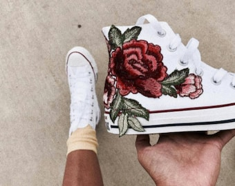 Rose Embroidery Hi Top Converse Floral Chucks - SALE Coupon Code Inside