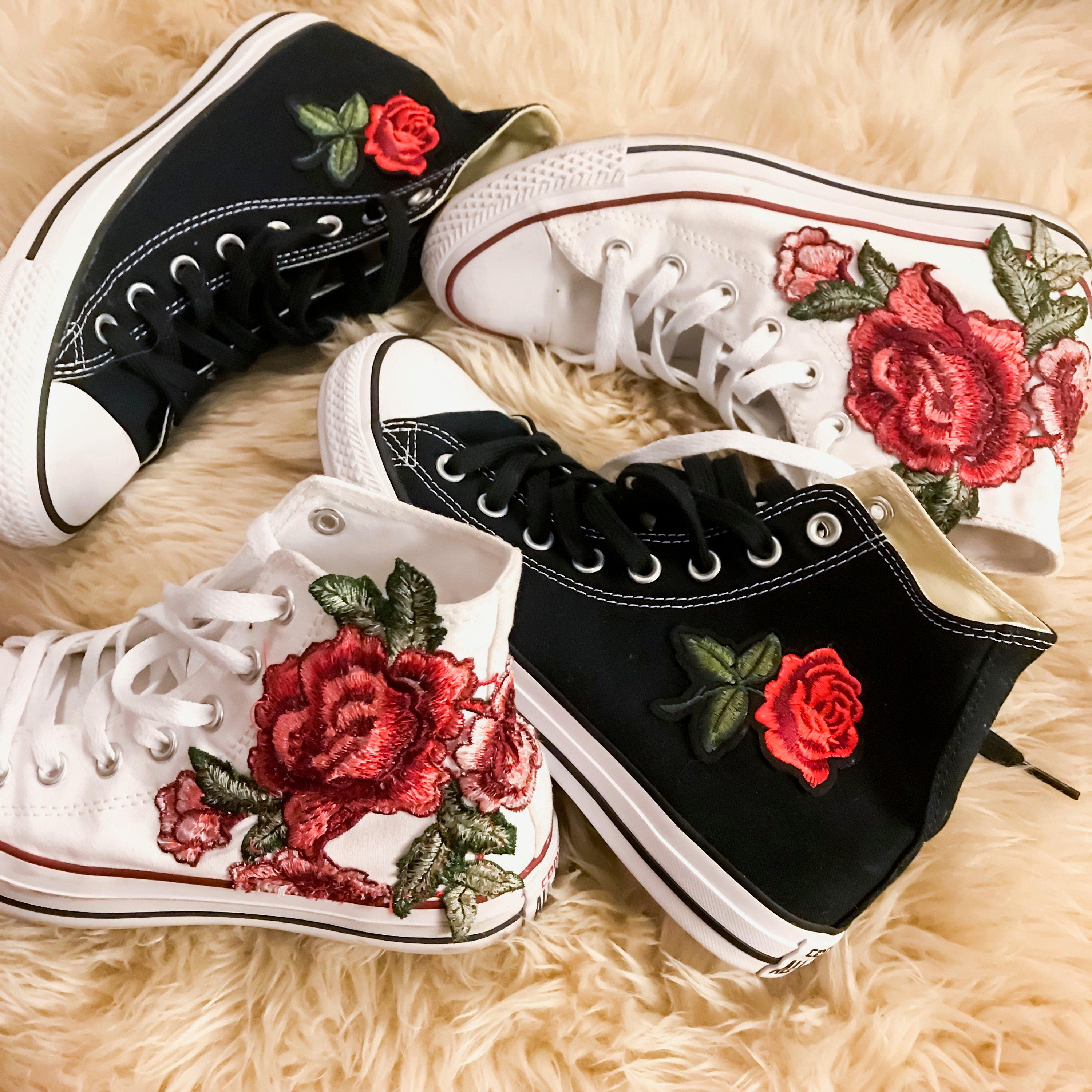 80b42c62bd6845 Rose Embroidered High Top Converse All-stars Floral Shoes