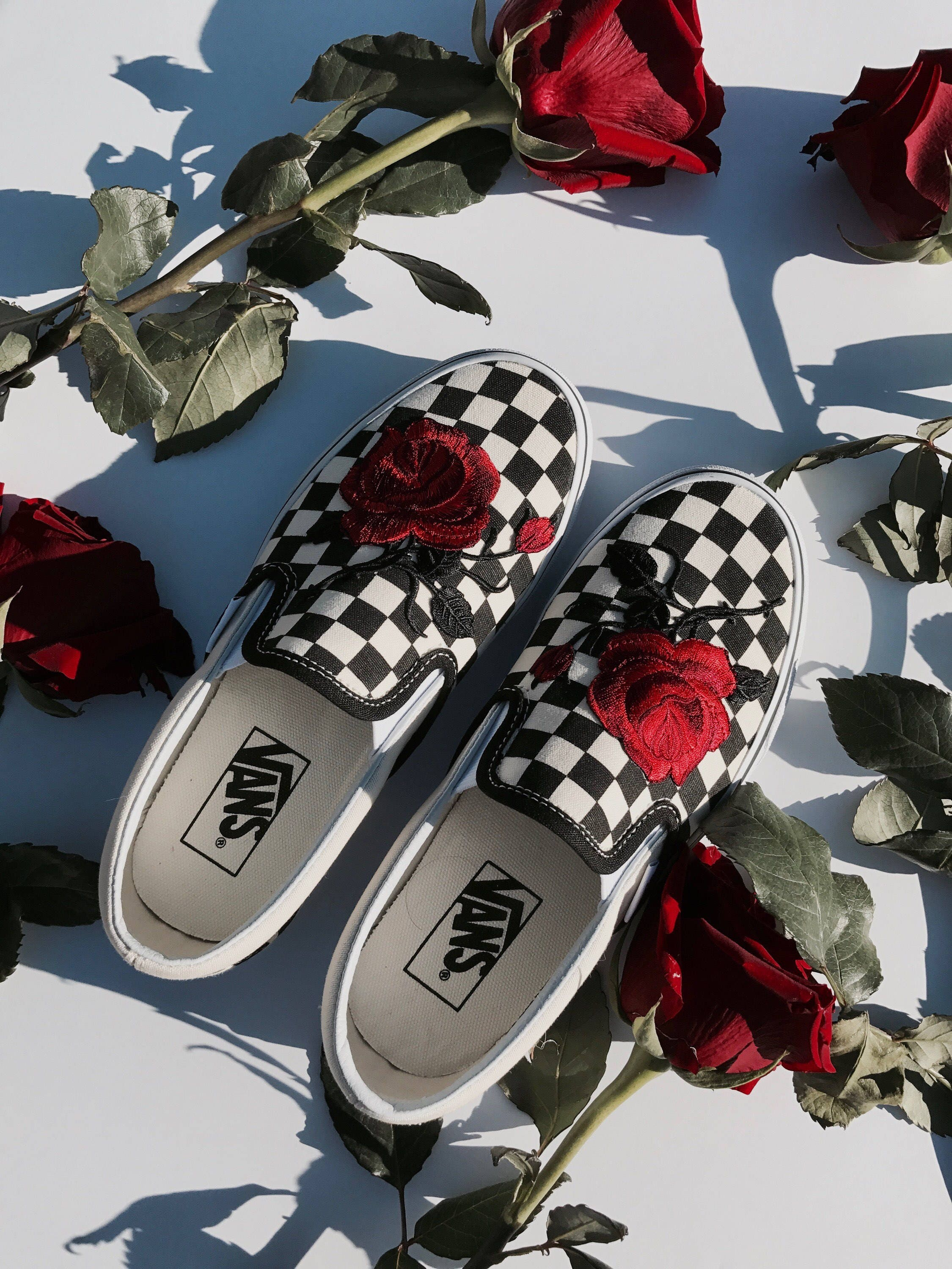 d2f2b872b380 Checkered Slip On Vans Rose Embroidery Shoes Sale Code