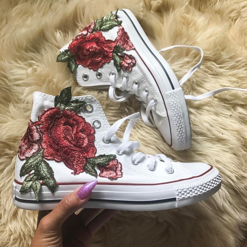 Rose Ricamo Hi Top Converse Floral Chucks Cucito in Appliqué d2ROPXVj
