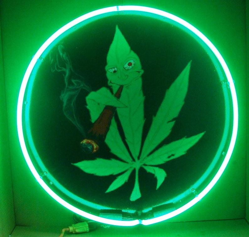 Cartoon Leaf Marijuana Medical Use Neon Sign 24 Full Can Etsy