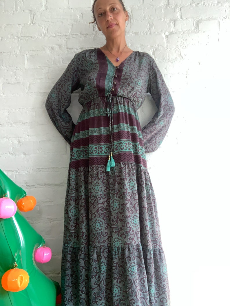 broomstick maxi dress urban dress long sleeve boho maxi dress green purple maxi dress vintage hippie maxi dress casual hippie dress