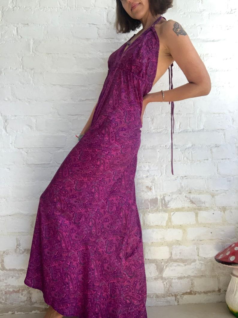 holiday vacation maxi dress purple strap tie paisley maxi dress open back sundress