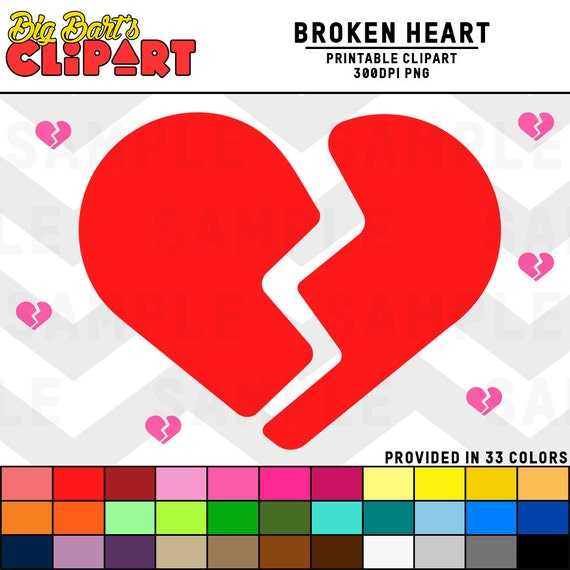 Broken Heart Clipart Graphic Icon Etsy
