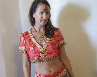 Beautiful harem/sari costume includes jewelry, and sari/wrap