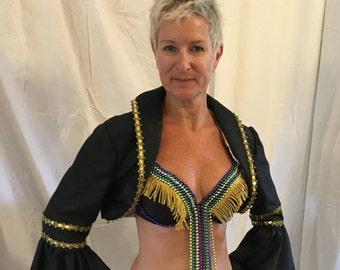 Mardi Gras outfit-bra, jacket, skirt, petticoat, hat-gold,purple,green and black sz 8-10