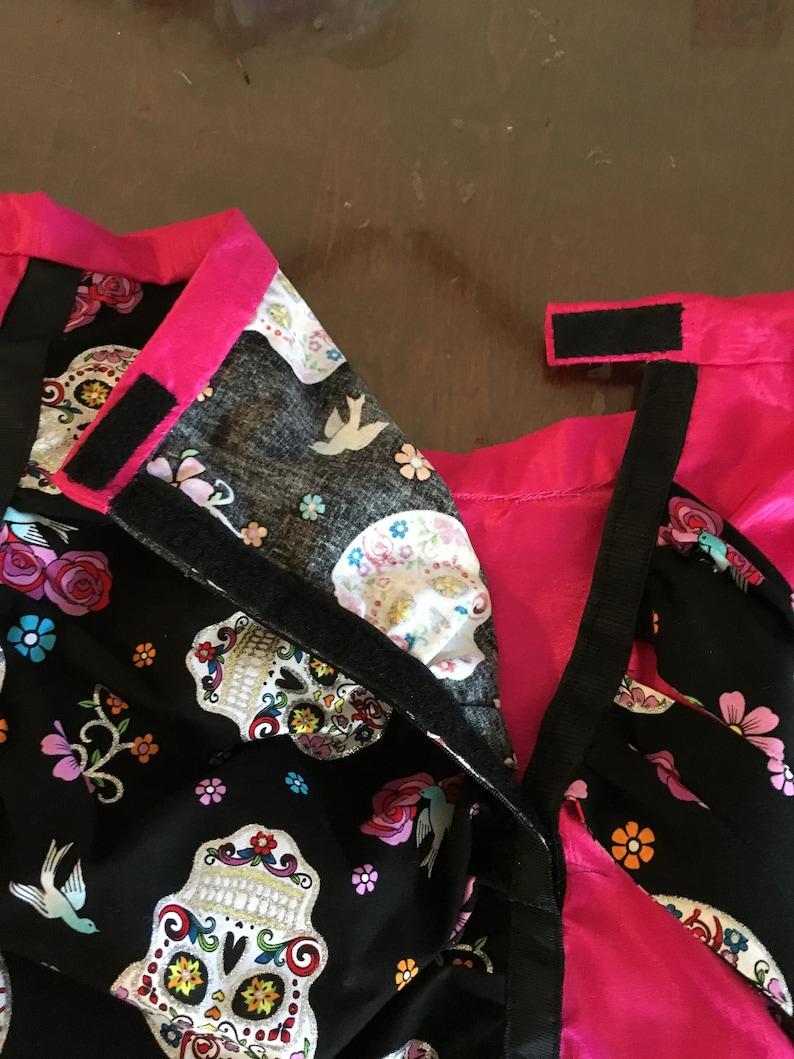 earrings skirt Unique Women/'s Day of the Dead Costume-top leggings  size 14-16 pinkblack necklace vest hat