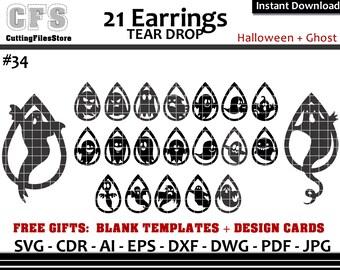 Ghost Earrings Svg Etsy