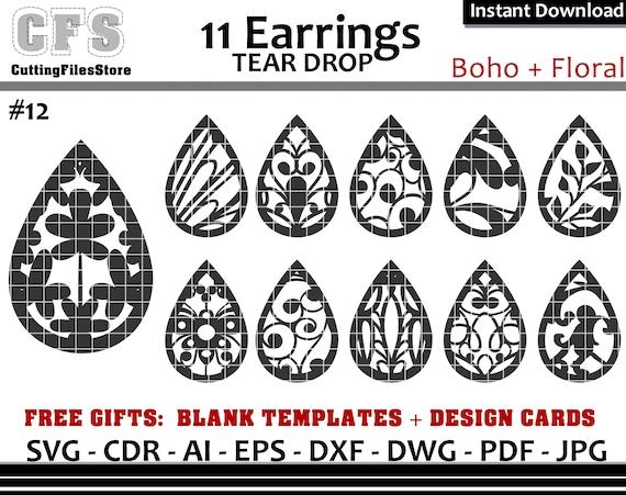 Earrings Svg Tear Drop Boho Floral Cut Files Gifts Etsy