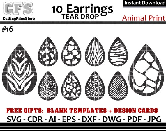 Earrings Svg Tear Drop Animals Prins Cut Files Gifts Etsy