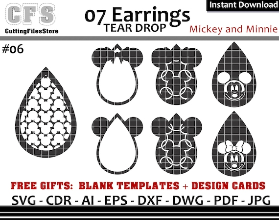 Earrings Svg Tear Drop Disney Mickey And Minnie Cut Files Etsy