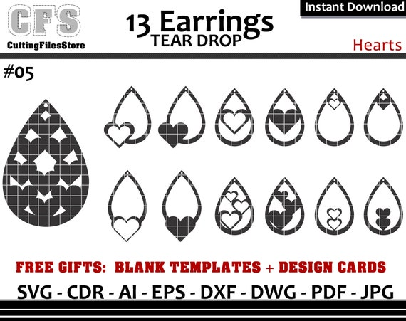 Earrings Svg Tear Drop Hearts Cut Files Gifts Etsy