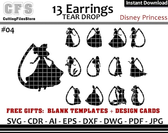 Earrings Svg Tear Drop Disney Princess Cut Files Gifts Etsy