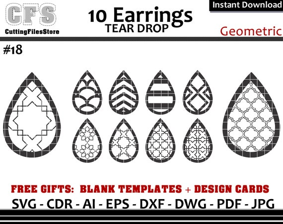Earrings Svg Tear Drop Geometric Cut Files Gifts Etsy