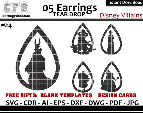 Earrings Svg Tear Drop Disney Villains Cut Files Gifts Etsy
