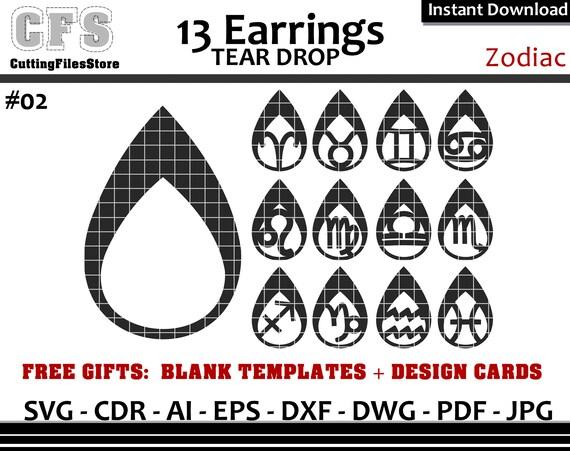 Earrings Svg Tear Drop Zodiac Cut Files Gifts Etsy