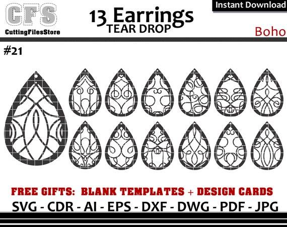 Earrings Svg Tear Drop Boho Cut Files Gifts Etsy