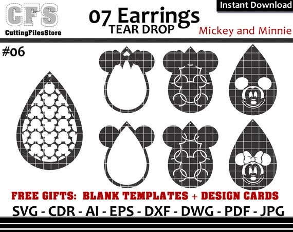 Earrings Svg Tear Drop Disney Mickey And Minnie Cut Files Etsy