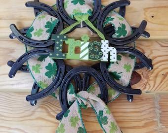 St Patrick's day Horseshoe Wreath