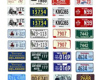 scale model car USA historic license tag plates