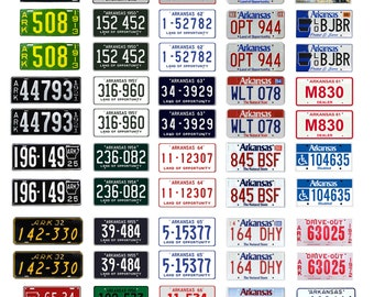 scale model car assorted USA license plates Arkansas state tags