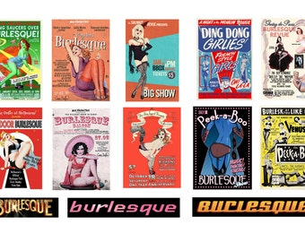 scale model burlesque theater posters
