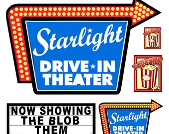 1:25 scale model Drive-In Movie Signs