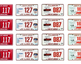 scale model fire truck Chicago department license tag plates