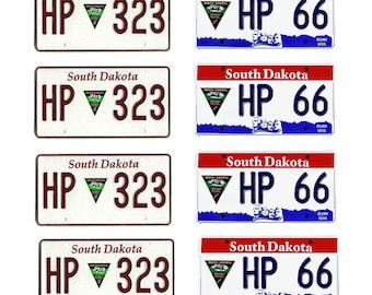 scale model South Dakota Highway Patrol police car license tag plates