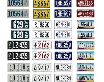 scale model car assorted USA license plates Arizona state tags