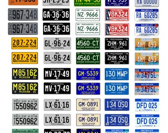 scale model car assorted USA license plates Michigan state tags