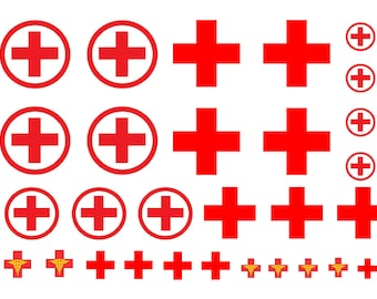 1:25 scale model red cross ambulance decals