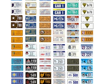 scale model state police car license tag plates highway patrol set